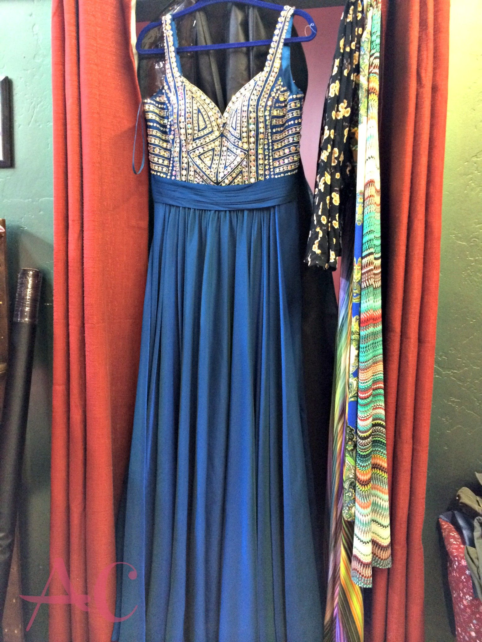 blue beaded dress