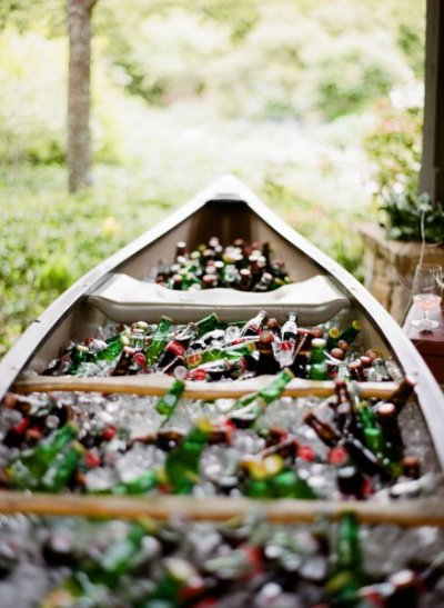 Wedding canoe with drinks